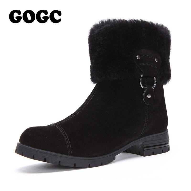 Gogc 100% 정품 가죽 여성 겨울 신발 모피 양모 큰 크기 중반 송아지 부츠 발목 부츠 여성 겨울 부츠 여성 9823-에서앵클 부츠부터 신발 의  그룹 1