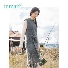 Retro INMAN สไตล์พู่ตกแต่งเลดี้ชุดกับเข็มขัด ฤดูหนาวคออุ่นเสื้อผ้าผู้หญิงเสื้อผ้าแขนกุด