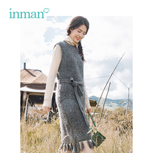 INMAN Winter High Neck Keep Warm Women Clothing Sleeveless Retro Style Tassel Decoration Design Lady Office Dress With Belt