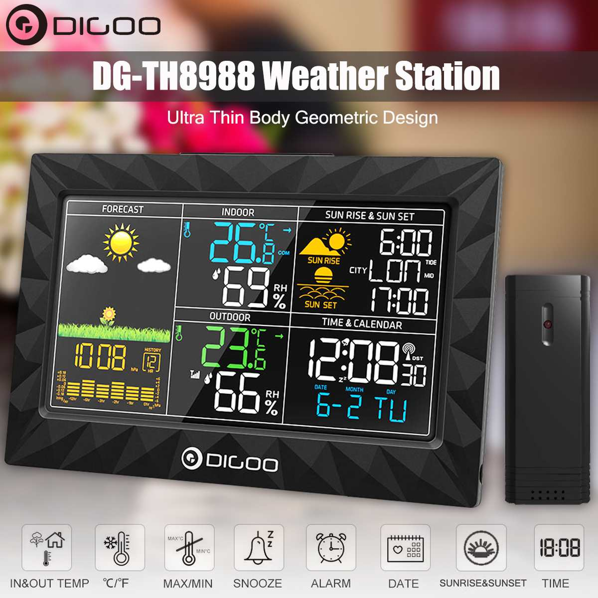 DIGOO DG TH8988 couleur Station météo + extérieur capteur à distance thermomètre hygromètre Snooze horloge lever du soleil coucher de soleil affichage | AliExpress