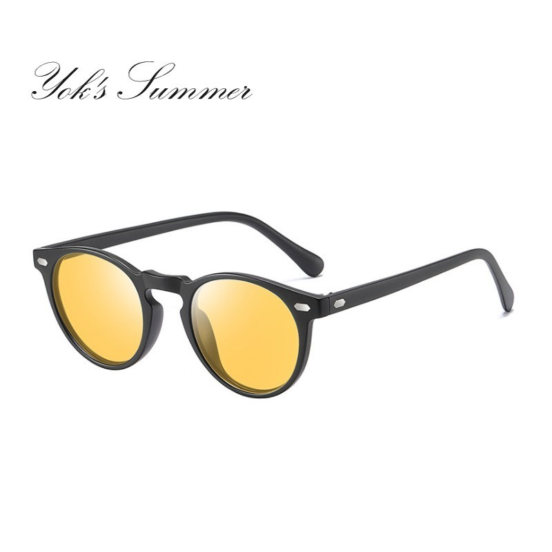 YOK'S Round Yellow Polarized Day & Night Vision Sunglasses Men Brand Flexible TR90 Sun Glasses Anti-glare Driving Eyewear UN1218