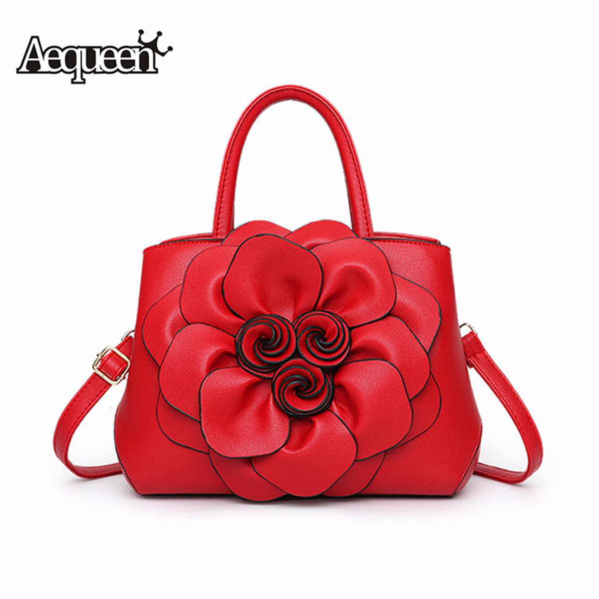 2019 Red Women Bags Luxury Handbag Female Designer Shoulder Bag Casual Shopping Tote PU Leather Hand Bags Flowers Feminine Bolsa