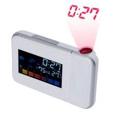 Schwarz/Weiß Wetter LCD Digital Wecker Heißer Projektion Hintergrundbeleuchtung LED Farbe Display Projektor Snooze Alarm Stunden Uhren