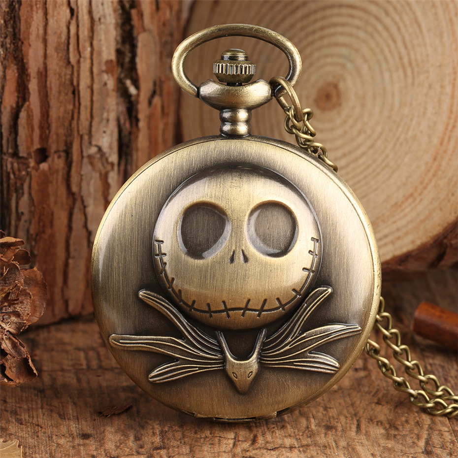 Bronze The Nightmare Before Christmas Pocket Watch For Kids Vintage Pendant Clock Necklace Chain Exquisite Necklace Watch Gift