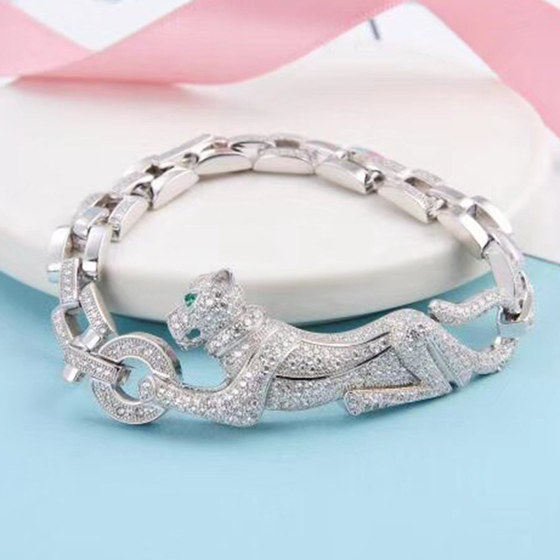 Hot Brand Pure 925 Sterling Silver Jewelry For Women Panther Bangle Full Stone Leopard Bangle Wedding