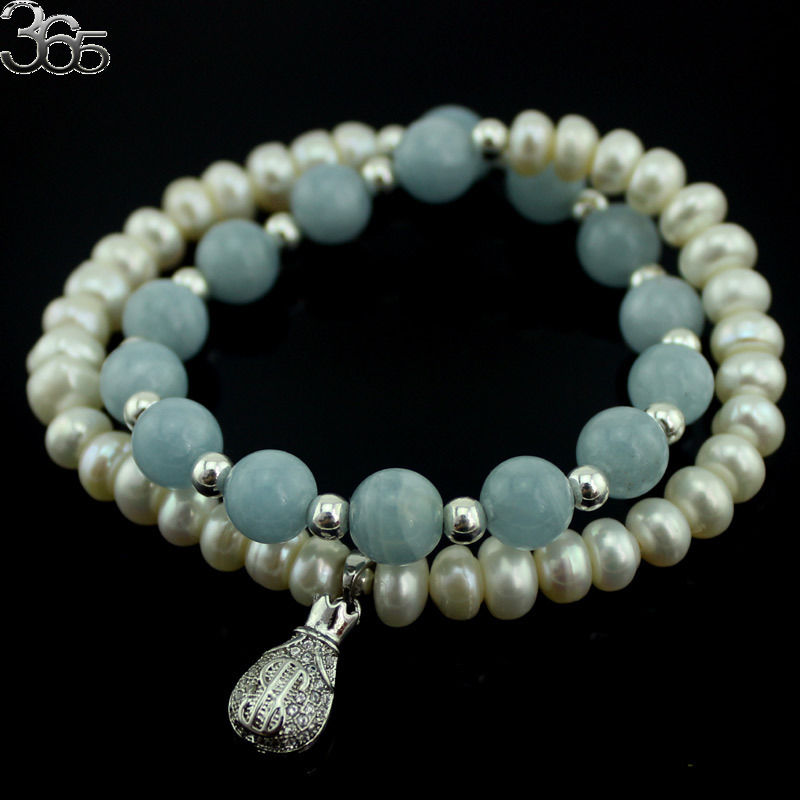 Free Shipping High QUality Natural Round Aqua Rondelle White Pearl 925 Silver Spacer Beads Streachy Bracelet