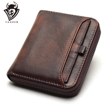 Men's Short Wallet First Layer Leather Wallet Men's Retro Wallet Vertical Zipper Casual Youth Small Purse aetoo original retro wrinkled leather vertical wallet men s short paragraph the first layer of leather wallet zipper small card