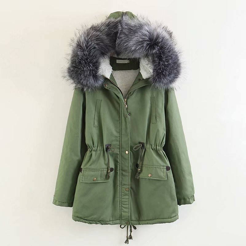 2018 Winter Women Casual   Parkas   Pockets Thickening Zipper Hooded Coat Drawstring Warm Jackets Outwear Female