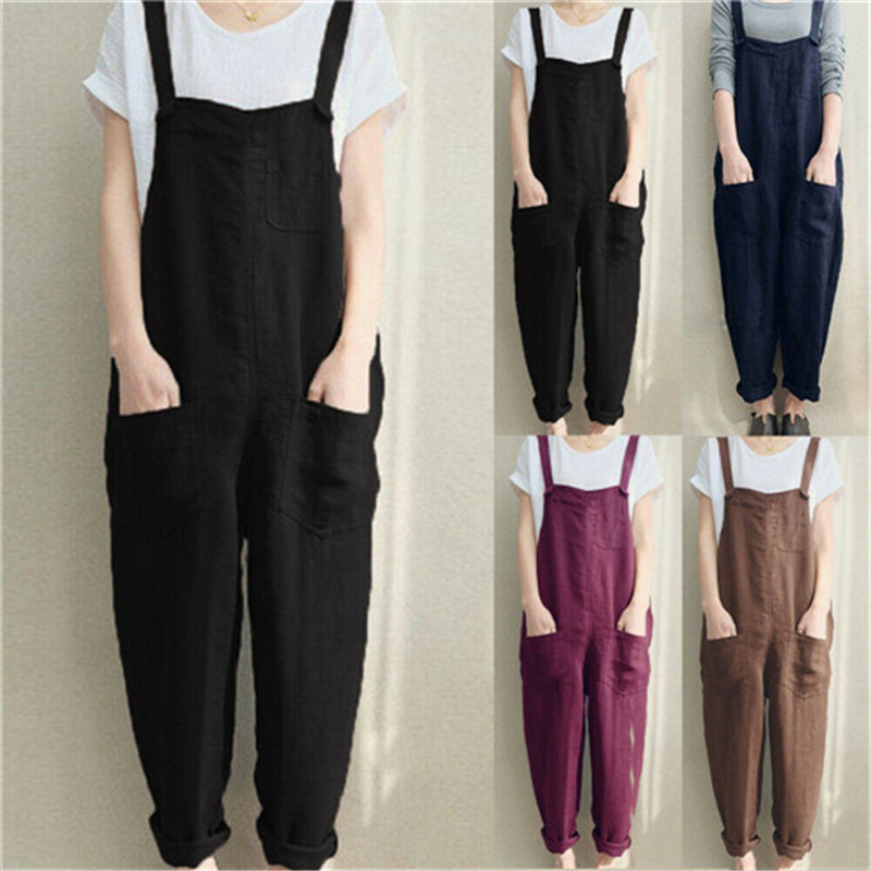 Summer New Womens Jumpsuit Sleeveless Dungarees Rompers Jumpsuit Loose Pants Overalls Playsuits Bodysuit Women Sleeveless