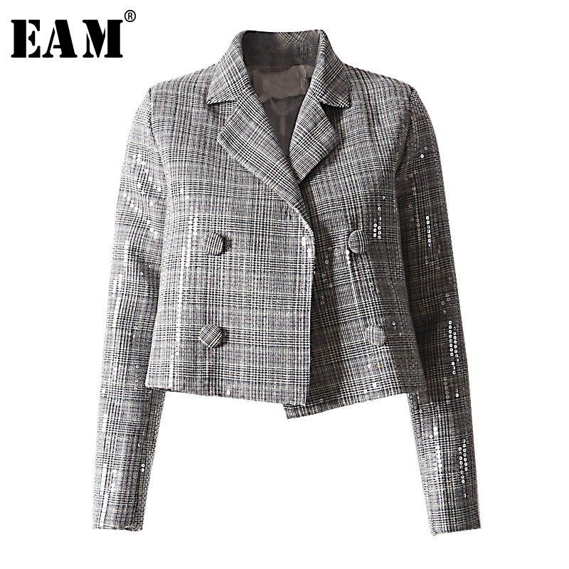 [EAM] 2019 New Spring Winter Lapel Long Sleeve Gray Plaid Transparent Shining Loose Jacket Women Coat Fashion Tide JL994