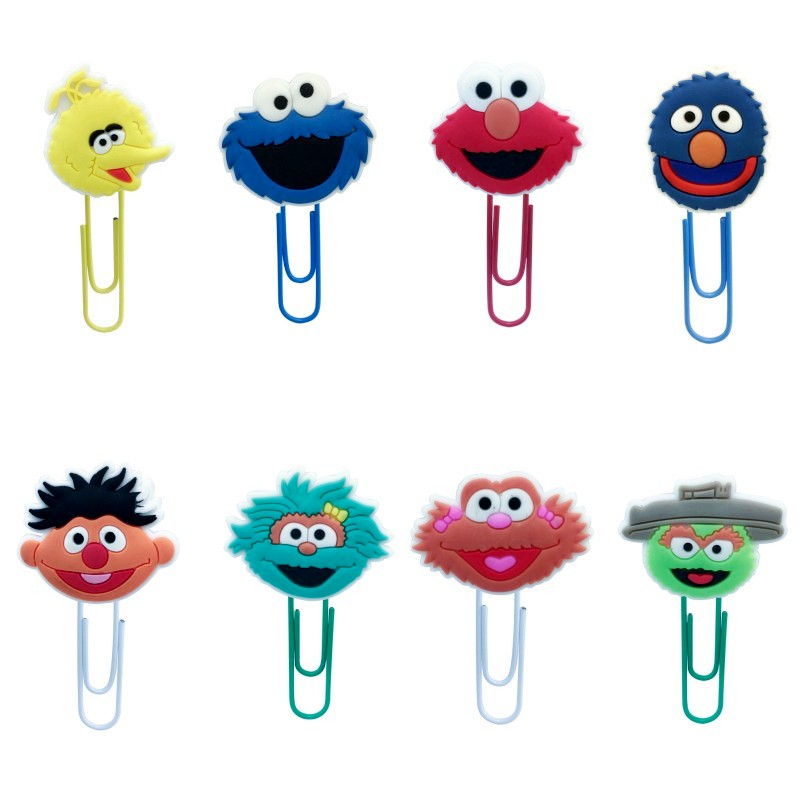 8pcs Sesame Street Cartoon Bookmark Stationery Paper Clip Book Markers School & Office Supplies PVC Bookmarks Kid Gift