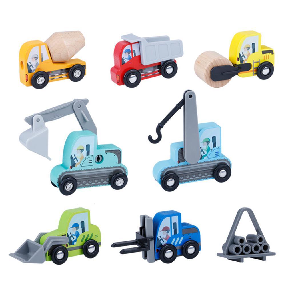 8pcs/set 1:64 Wooden Excavator Truck Car Toy Autotruck Breaking Hammer Vehicles Children Day Gift Kids Birthday Gift