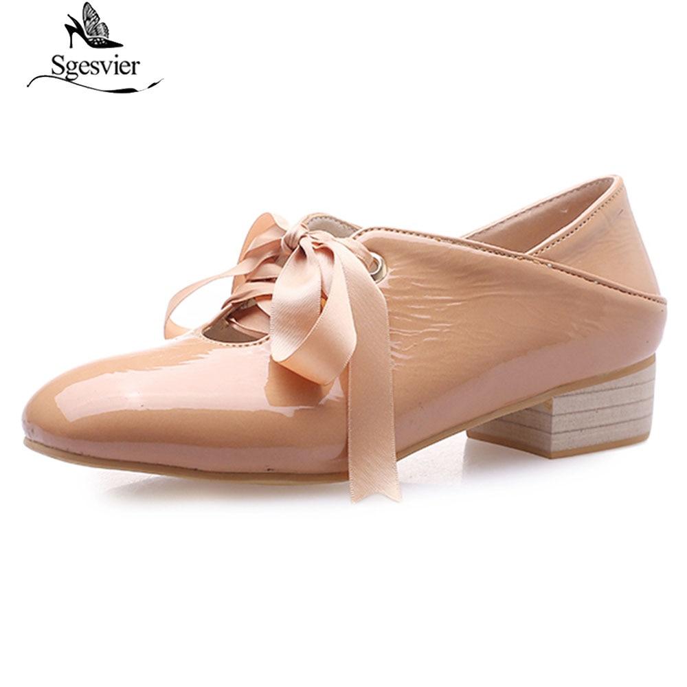 416501e84 Sgesvier/весенне-осенние новые женские туфли-лодочки, модная обувь на  шнуровке на