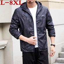 цена на 8XL plus size New Spring Autumn Bomber Hooded Jacket Men Casual Loose Patchwork Windbreaker Jacket Male Outwear Zipper Thin Coat