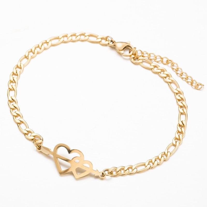 Модные талисман Двойное сердце браслет серьги для женщин ювелирные изделия из нержавеющей стали цепи невесты подарки манжеты браслеты
