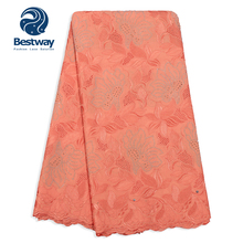 Bestway African Lace Fabric High Quality Peach Color Swiss Voile Rhinestone in Switzerland For Aso Ebi