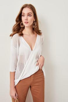 Trendyol Ecru Mesh Detailed Double Breasted Summery Knitwear Sweater TCLSS19DU0019