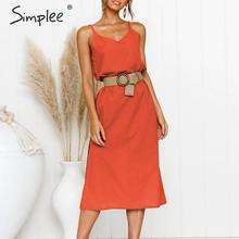 Simplee Bohemian spaghetti strap women midi dress Beach style plus size v-neck summer sundress Elegant casual female dress 2019