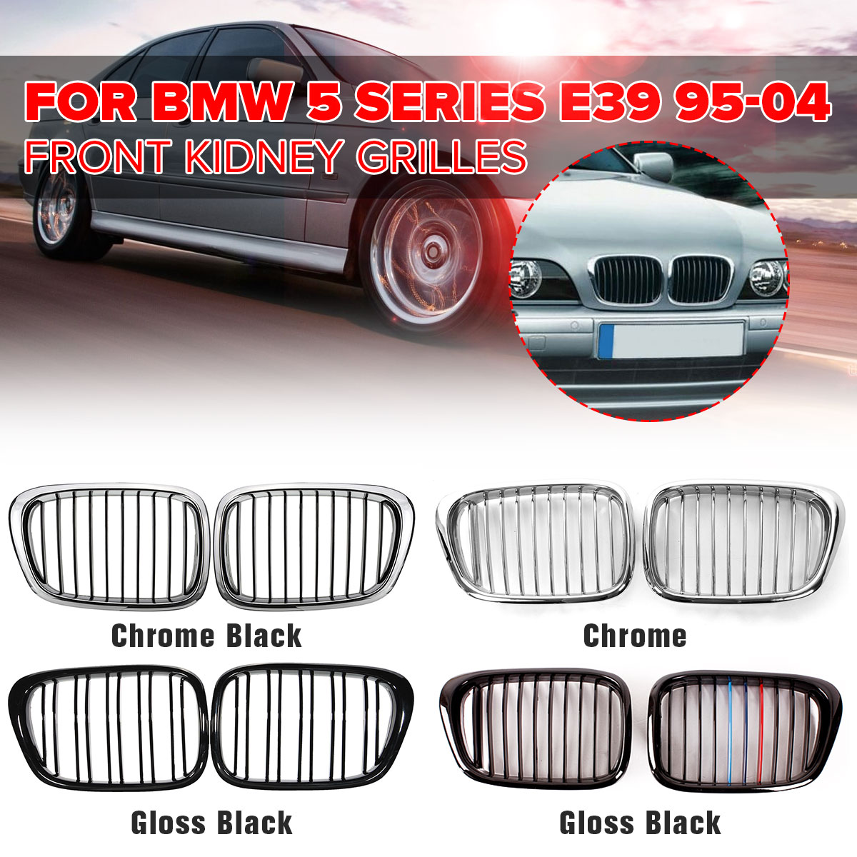 Pair Chrome Black/Gloss Black Front Kidney Grille Grilles For BMW E39 M5 5-series 525i 528i 530i 1997-2003 Car Accessories PartPair Chrome Black/Gloss Black Front Kidney Grille Grilles For BMW E39 M5 5-series 525i 528i 530i 1997-2003 Car Accessories Part