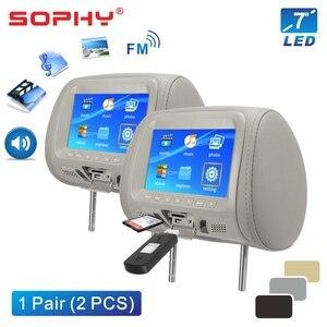 Image 2 - 2 個 7 インチ車のヘッドレストモニター LED デジタル画面枕モニターと MP4 MP5 プレーヤー USB SD 後部座席エンターテイメント SH7048 P5