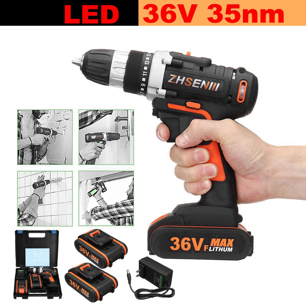 Max 36V Electric Screwdriver Lithium Battery Rechargeable Parafusadeira Furadeira Multi function Cordless Drill Power Tools