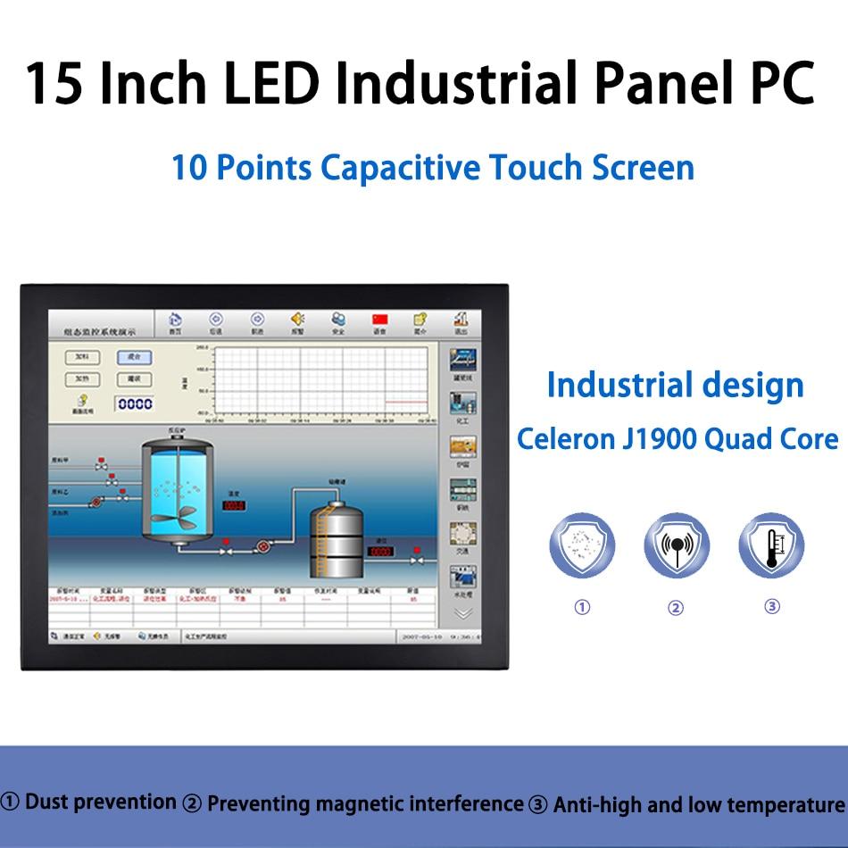 15 Inch LED Panel PC,Industrial Panel PC,10 Points Capacitive Touch Screen,Intel J1900,Windows 7/10/Linux Ubuntu,[HUNSN DA06W]