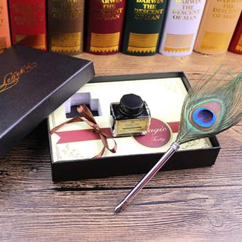 Vintage Styles Writing Fountain Pen+Ink Bottle Gift Box Set 0.5mm Fine Nib Peacock Feather Quill Dip Pen For Calligraphy Supply writing