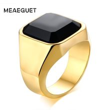 Vintage Men's Square Carnelian Signet Ring In Black Nature Stone Statement Solid Golden Stainless Steel For His Jewellry(China)