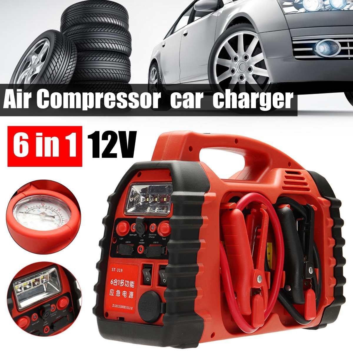 7 em 1/6 Em 1 12 V Multifunation Compressor de Ar Compressor De Ar Do Carro Carregador de Bateria Ir Para Iniciantes Portátil boost