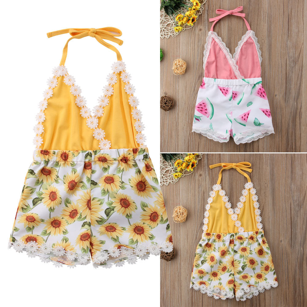 Toddler Baby Girl Lace Romper Jumpsuit Summer Sunsuit Beach Clothes Outfits Kids Girl Sleeveless Casual Rompers 0-5years