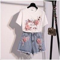 2019 Summer New Fashion Women's Set 3d Flower Appliques O Neck Tshirt Tops+ Tassel Denim Short Pants Suit Two Pieces Sets