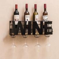 Wall Mounted Metal Wine Rack 4 Long Stem Glass holder Wine Cork Storage 58X12X22cm