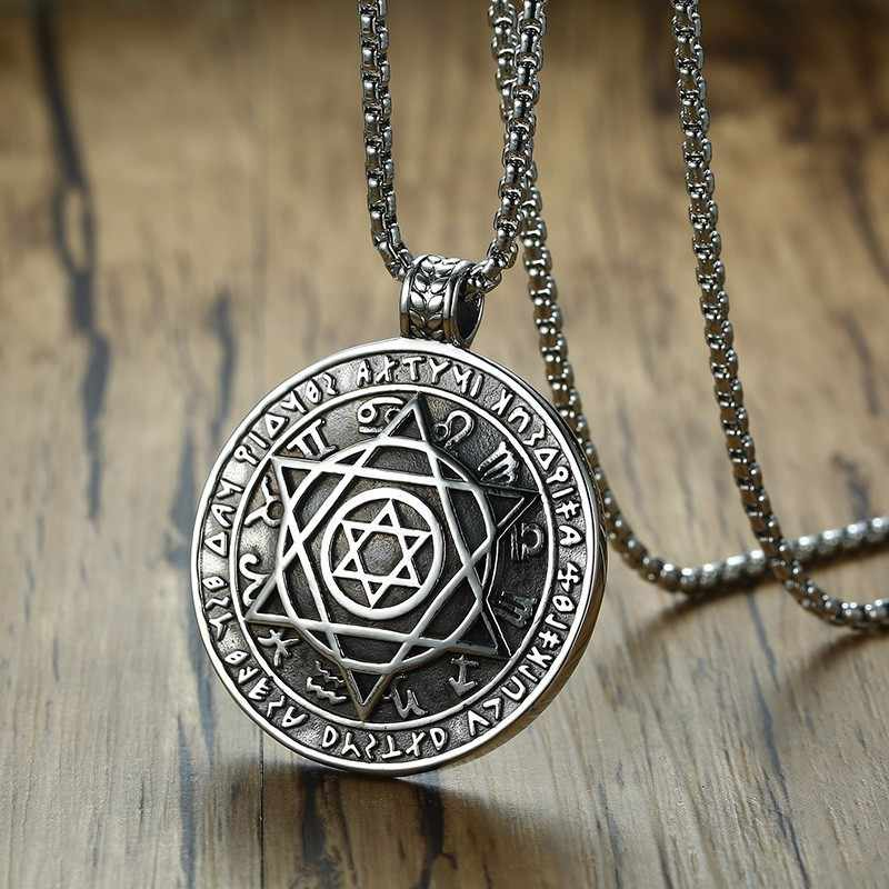 Talisman Hexagram Pentacle Of Solomon Amulet Pendant Necklace Stainless steel kabbalah Hermetic Jewelry