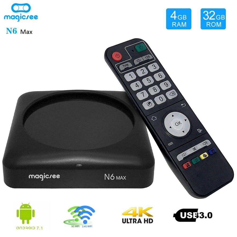MAGICSEE N6 MAX Android 7.1 TV Box Rockchip3399 4 GB/32 GB 2.4G/5GWiFi 1000Mbps LAN USB3.0 OTG BT4.1 Support 4K H.265 décodeur