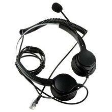 Hands-free Call Center Шум отмена стереофоническая гарнитура наушники С микрофоном MIC 4-контакт RJ9 кристалл голову для Настольный телефон