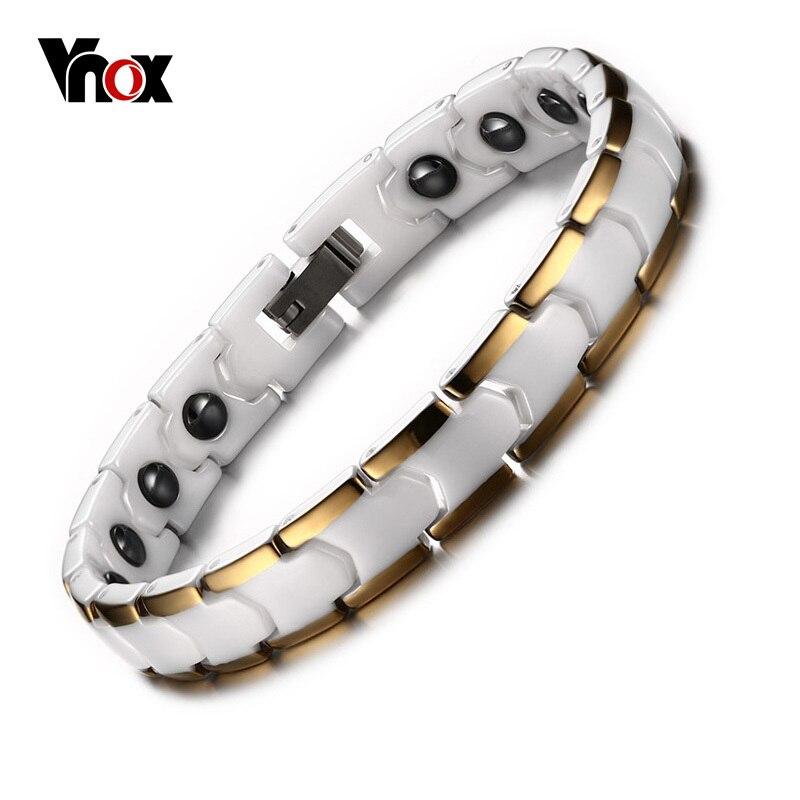Vnox Relationship Bracelet for Women Ceramic Medical Alert Bracelet with Magnet Healthy Hand ChainVnox Relationship Bracelet for Women Ceramic Medical Alert Bracelet with Magnet Healthy Hand Chain