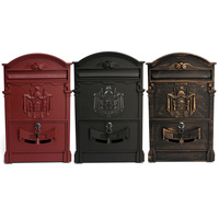 Heavy Aluminium Lockable Secure Mail Letter Post Box Mailbox Postbox Retro Vintage Metal Mail Box Garden Ornament