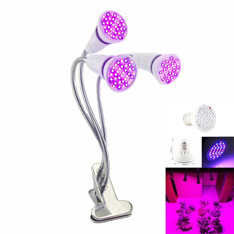 Greenhouse LED Plant Grow 3-Head Flower Growbox Growth Lamps For Indoor Hydro Seedling Growing Bulbs EU US Plug Holder Clip