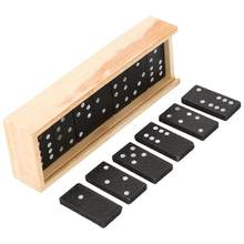 28Pcs/Set Wooden Domino Board Games Travel Funny Table Game Domino Toys Kid Children Educational Toys For Children Gifts(China)