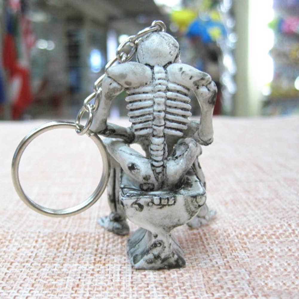 Stylish Punk Purse Bag Rubber Skull Skeleton Key Ring Chain Keyring Jewelry Gift