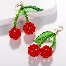 New Gold Charm Green Leaves Dangle Earring Ear Jewelry Big Red Cherry Earrings Women Girl Cherry Earrings стоимость