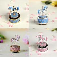 Mini Carousel Music Box Music Box No Face Resin Figurine Kids Toys Children's Gift