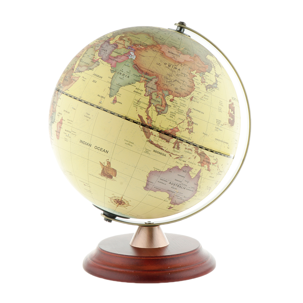 USB Night Light LED Illuminated Spinning World Globe Constellation Map With Wooden Stand