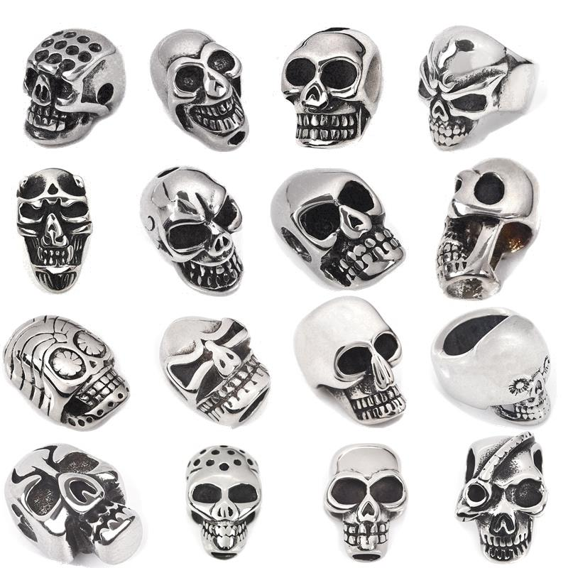 Men Bracelet Stainless Steel Beads Hole 5.5mm European Metal Skull DIY For Jewelry Making Findings