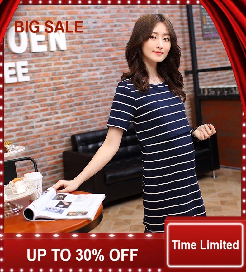 Nouveau printemps et été des femmes enceintes robe vêtement de maternité allaitement vogue out soins infirmiers T-shirt robe en coton