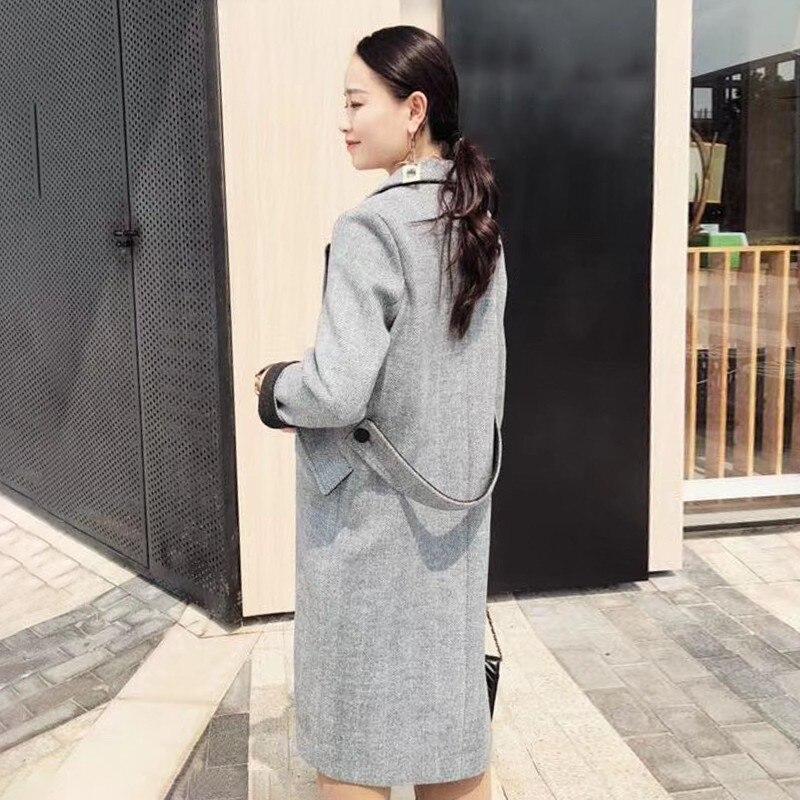 Surdimensionné Col Laine Femme Twotwinstyle Manches Automne Apricot Tailles Mode Longues 2018 Revers Femmes Pardessus Pour gray Hiver À Grandes Manteaux tqFxwxd8