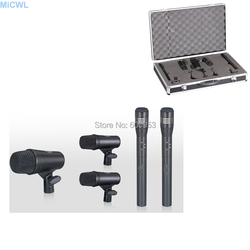 5pcs Set Big Bass drum 2 small Snare drum Dynamic 2 Condenser Microphone Cardioid Music instrument recording Microphones Mic