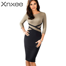 Xnxee Vintage Elegant Contrast Color Patchwork Wear to Work vestidos Business Party Office Women Bodycon Dress