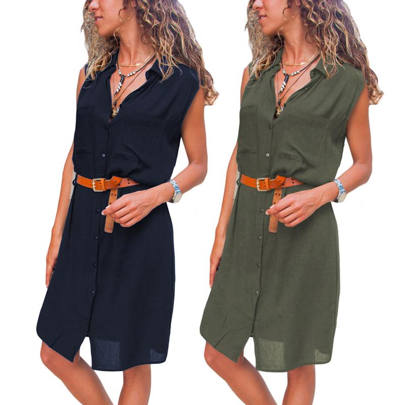 Pockets Buttoned Sleeveless Dress For Women Solid Color Casual Fashion Off The Shoulder Loose Dress