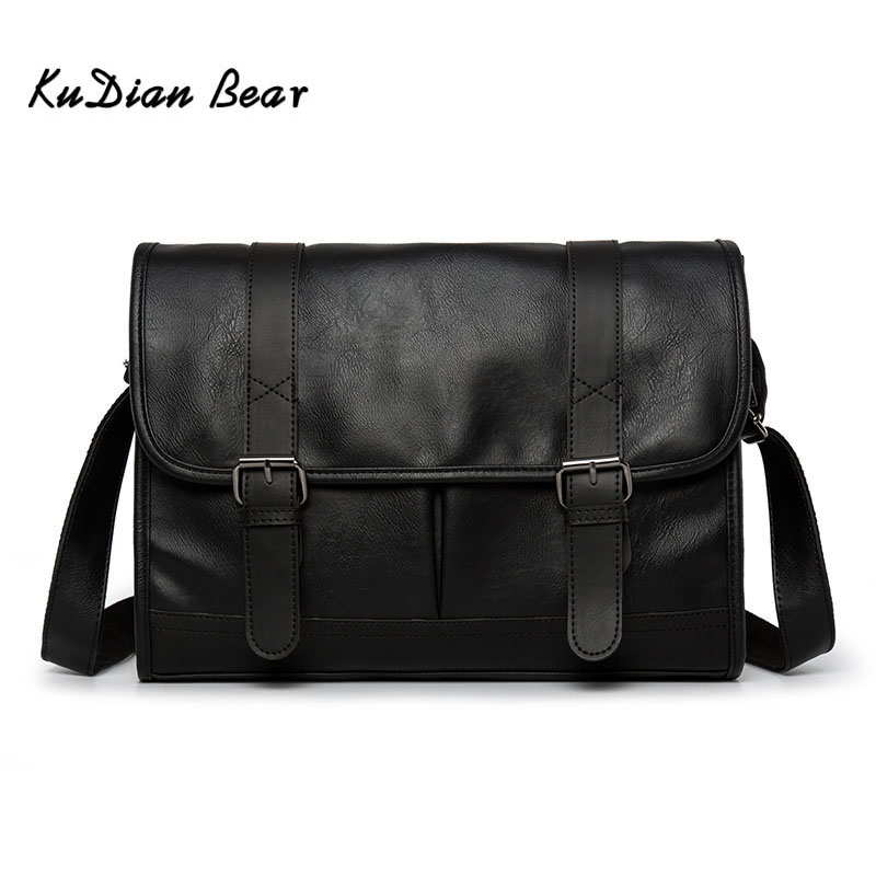 KUDIAN BEAR Men Messenger Bag Shoulder PU Leather Business Casual Retro Men's Crossbody Bags Black Luxury Bolsos BIG003 PM49